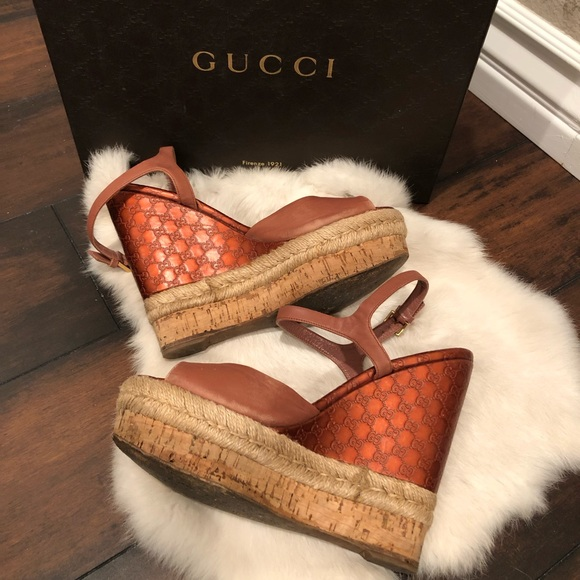 cdf2adb9178b Gucci Shoes - Gucci Pink Guccissima Leather Cork Wedge Sandals